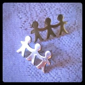 Vintage Three People Holding Hands Lapel Pin